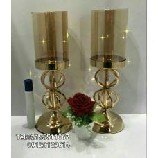 شمعدان شیشه ای پایه طلایی  بسیار زیبا